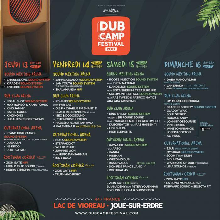 Dub Camp 2017 : Programmation jour par jour