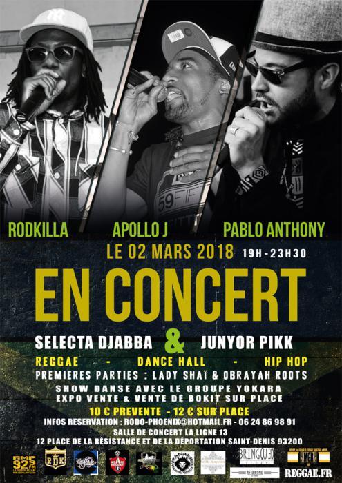 Rodkilla, Apollo J & Pablo Anthony en concert à St Denis