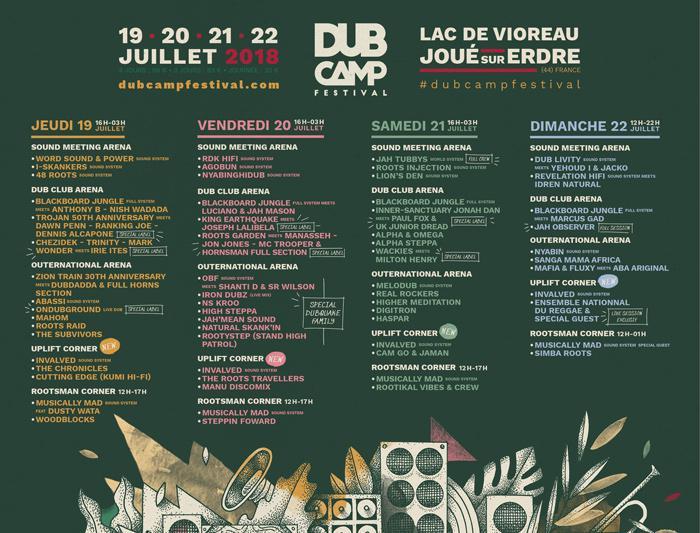 Dub Camp 2018 : prog jour par jour