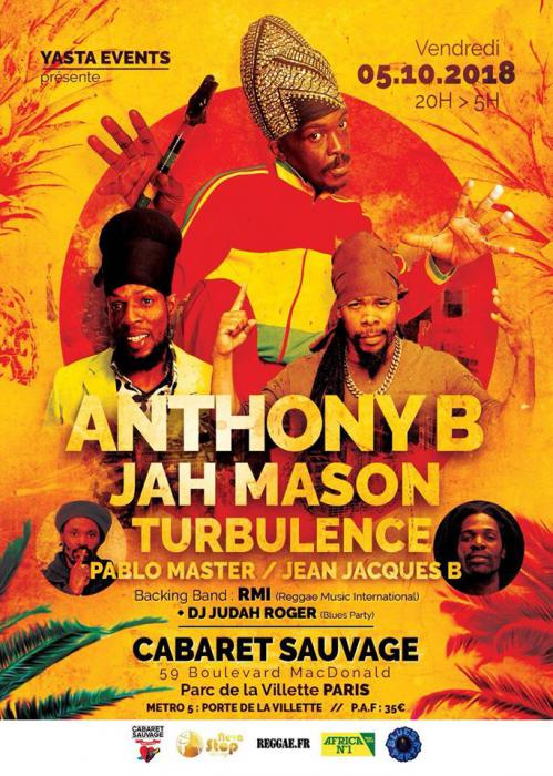 Anthony B., Jah Mason, Turbulence etc. à Paris en octobre