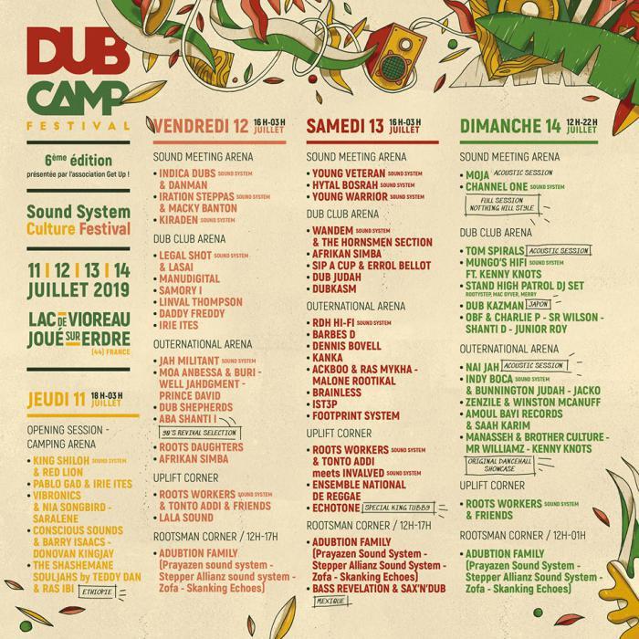 La prog jour par jour du Dub Camp